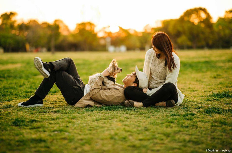 犬と家族写真の撮影