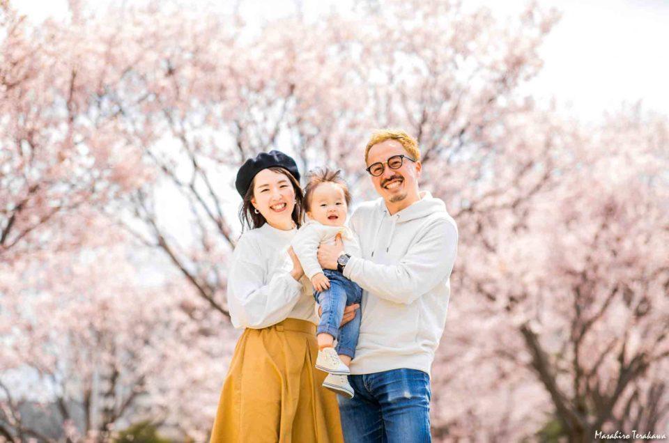 大阪 桜 ご家族の記念写真撮影